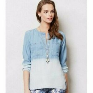 Anthro Cloth & Stone Dip Dye Chambray Popover Top